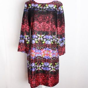 Ali Ro Silk 3/4 Sleeve Floral Dress With Lace