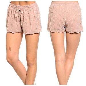 NWT Dusty Rose Blush Beaded Embellished Shorts