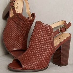 Whiskey Leather Slingback Block Heel Mule