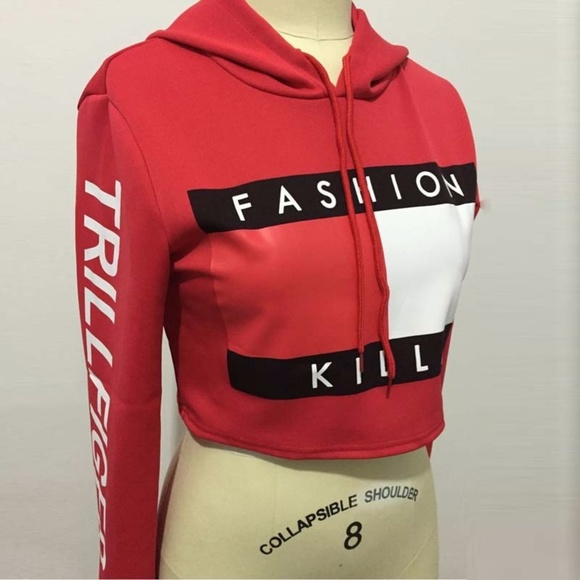 024ae8c91dd69 Fashion Killa Sweaters - Red Fashion Killa Trillfiger Crop Top Hoodie sz L