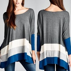VINA Stripe Long Sleeve Top - CHARCOAL