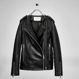 $319 Zara studio 100/% sheep  leather black  biker jacket M-L