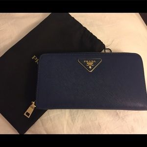 PRADA Continental Saffiano Leather Wallet in blue