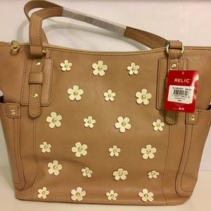 NWT Relic Monroe Tote Bag Purse Tan with Flowers