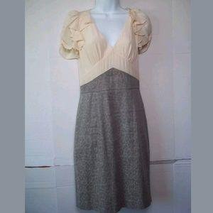 REBECCA TAYLOR SILK COTTON LINEN BLEND DRESS 6