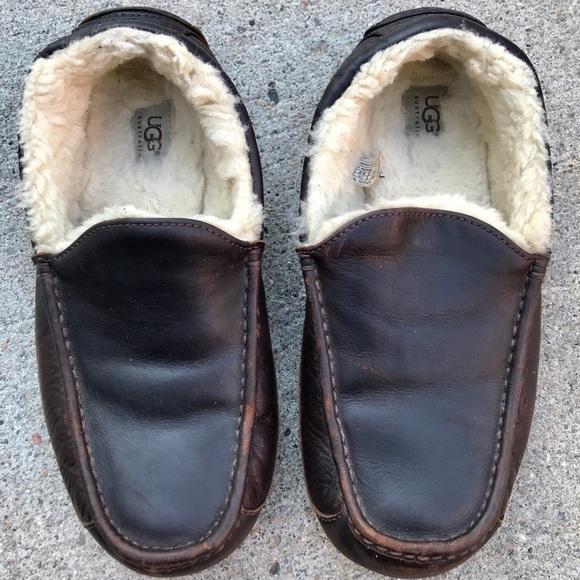 a12e98ab073 UGG Men s Ascot Leather Wool Moccasins Sz 9.5. M 59d5eceef0137da710013f7f