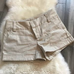 Alice + Olivia Khaki Gold Metallic Thread Shorts 6
