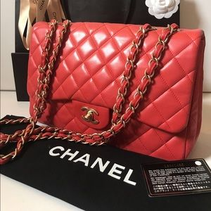 Authentic Chanel Jumbo Lambskin