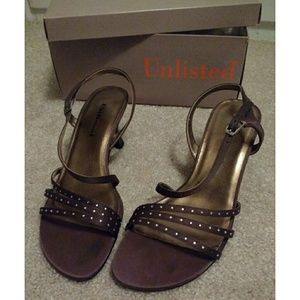 UNLISTED bronze dress shoes with silver bling 7.5