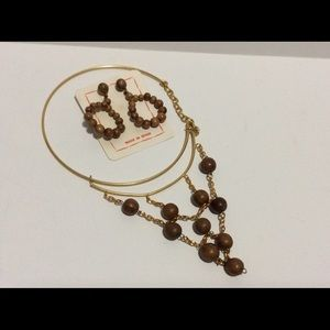 Jewelry - Vintage 60's Olive Wood Necklace & Earring Set