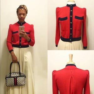 Vintage St. John Santana Knit Top - Red & Navy