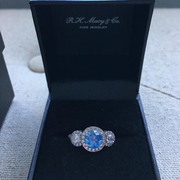 ff6ead709 Swarovski Jewelry | Blue And White Zirconia Three Stone Ring | Poshmark
