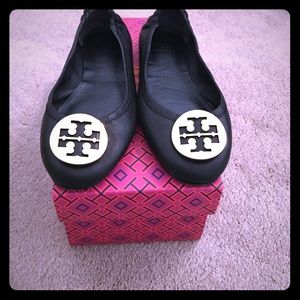 Tory Burch Minnie Travel Ballet Flat Black Leather
