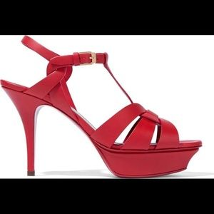 YSL Tribute Sandals Size 11 Red Leather