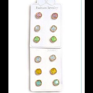 Jewelry - Pack of 3 Rhinestone Stud Earrings- 2 Colors