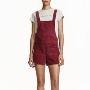 H&M Corduroy Red Overalls