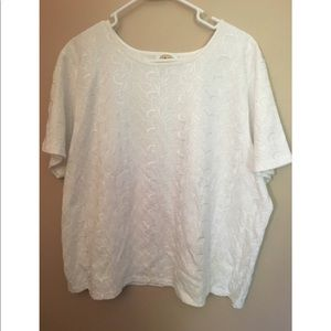 Talbots white floral top size 2x