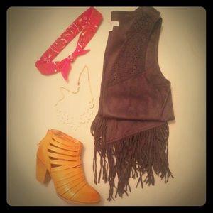 faux-suede fringe vest
