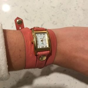 La Mer Leather Coral Wrap Watch