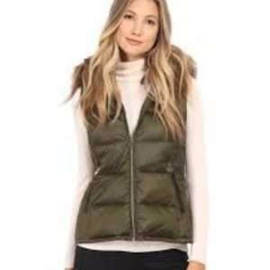 Michael Kors Faux Fur Hooded Puffer Vest, Olive
