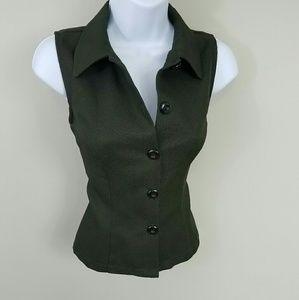 My Michelle Dark Green Button Up Vest Medium