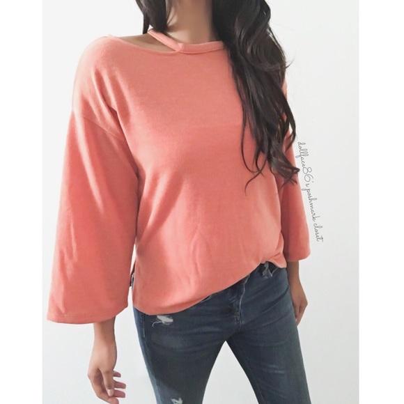 1617260c633 NWT Zara Orange Cut Out Bell Sleeve Knit Top