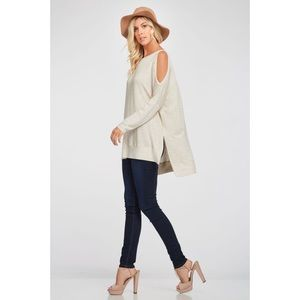 LAST ONE!! Cold Shoulder Top-OATMEAL