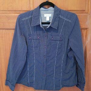 Cotton Casual Shirt Railroad Stripe