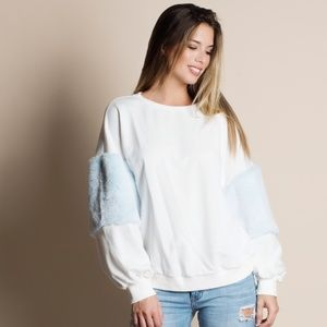 Balloon Sleeve Fur Accent Sweater WHITE
