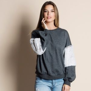 Balloon Sleeve Fur Accent Sweater CHARCOAL