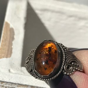 Vintage Sterling silver natural Baltic amber ring