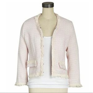 Aryn K. Blush Boucle Tweed Fringe Jacket