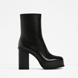 Zara leather boots with lined platform