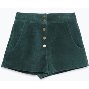 Zara Green Suede Shorts