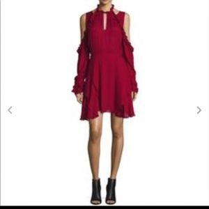 IRO Hanoi Violet Cold Shoulder Wine Dress 38F=6US