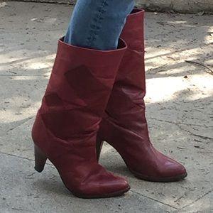 Shoes - Vintage maroon heeled boots beautiful 8.5