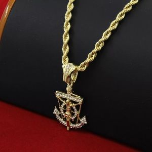 14K Gold Jesus Anchor Pendant &a Rope Chain