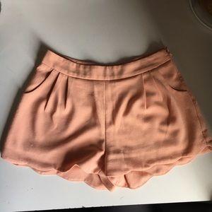 Tobi Peach/light pink Scalloped Shorts