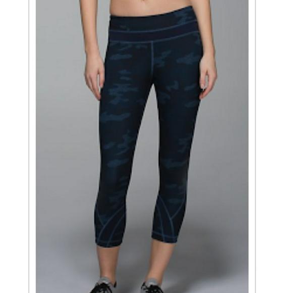 Lululemon Athletica Pants Jumpsuits Lululemon Navy Camo Crop Leggings 4 Poshmark