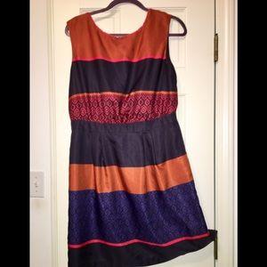 LOFT fall orange navy dress