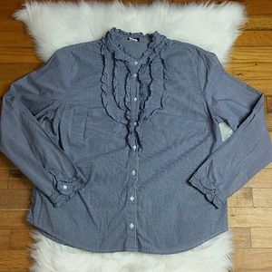 J. Crew  Ruffle Front Button Down Top