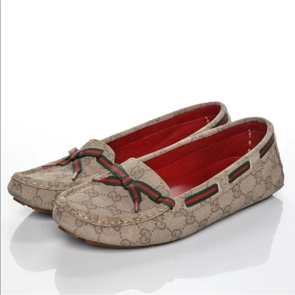 528925f7b85 Gucci Shoes - Gucci GG logo pattern loafer women size 8