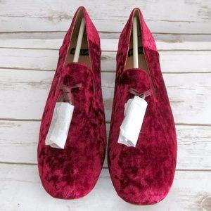 N.Y.L.A Burgundy Crushed Velvet tassel Loafers