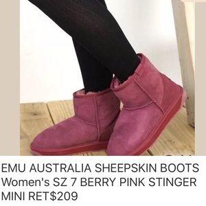 EMU AUSTRALIA SHEEPSKIN BOOTS PINK SIZE 7