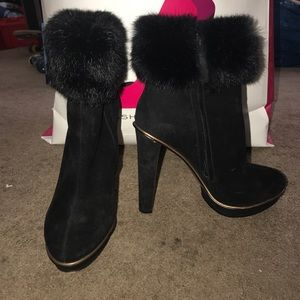 Bcbgmaxazria Nimber suede fur blak ankle boots 6.5