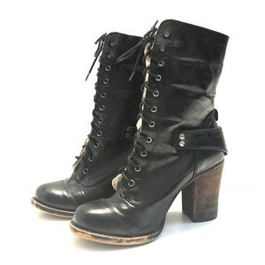 Chinese Laundry Faux Fur Lace Up Mid Calf Boots