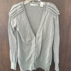 Sweaters - Grey Cardigan with Military Detailing