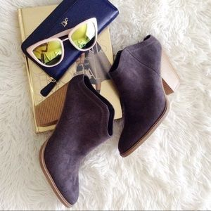 DV grey faux suede stacked heel backless booties