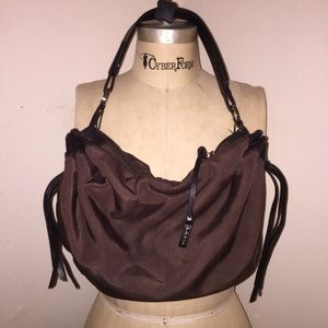 Lancel Purse with Brown Leather Trim and Tassels