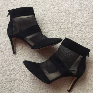 Zara Mesh + Suede Heeled Booties